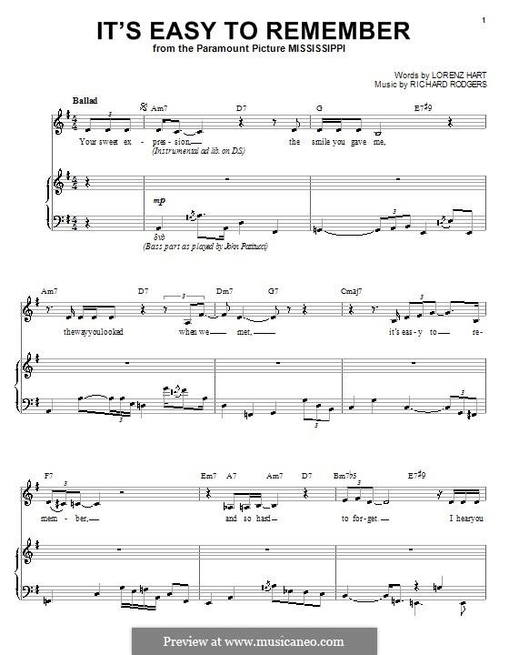 It's Easy to Remember: Für Stimme und Klavier (oder Gitarre) by Richard Rodgers