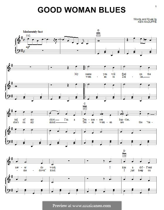 Good Woman Blues (Mel Tillis): Für Stimme und Klavier (oder Gitarre) by Ken McDuffie