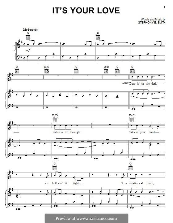 It's Your Love (Tim McGraw and Faith Hill): Für Stimme und Klavier (oder Gitarre) by Stephony Smith