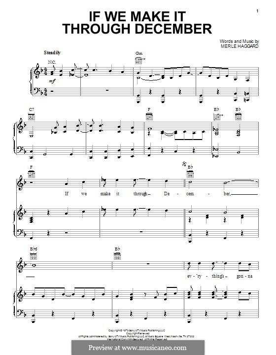 If We Make It Through December: Für Stimme und Klavier (oder Gitarre) by Merle Haggard