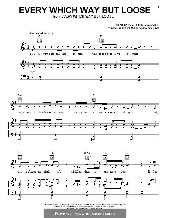 Every Which Way But Loose (Eddie Rabbitt): Für Stimme und Klavier (oder Gitarre) by Milton Brown, Stephen H. Dorff, Thomas Garrett