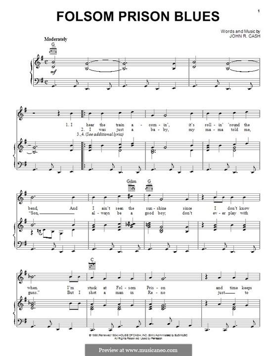 Folsom Prison Blues: Für Stimme und Klavier (oder Gitarre) by Johnny Cash