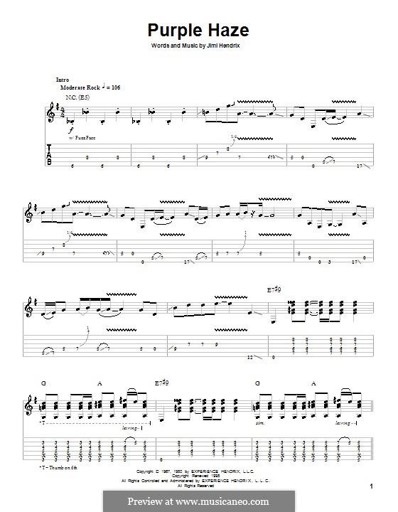 Purple Haze: Für Gitarre by Jimi Hendrix