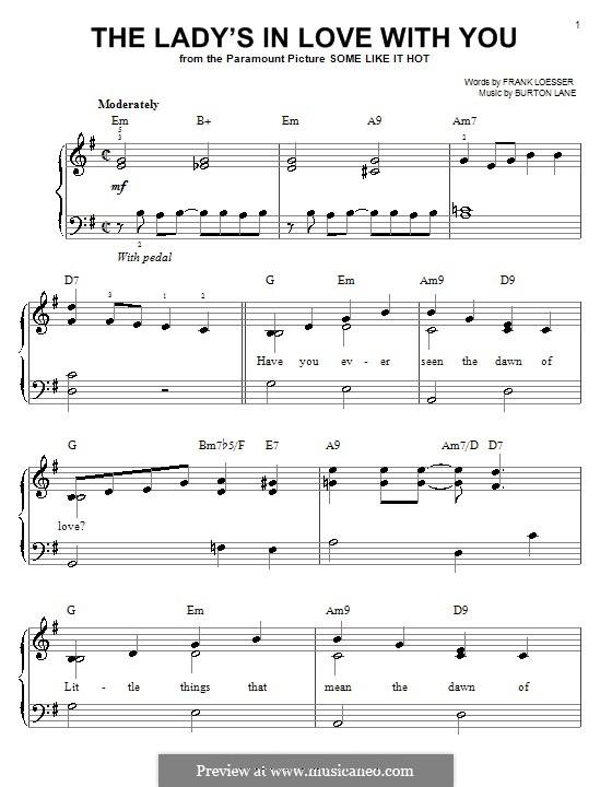 The Lady's in Love with You: Einfache Noten für Klavier by Burton Lane