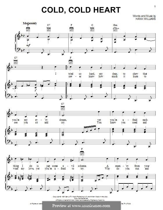 Cold, Cold Heart: Für Stimme und Klavier oder Gitarre (F-Dur) by Hank Williams