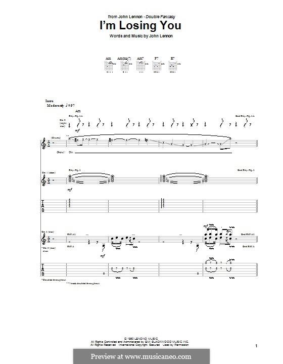 I'm Losing You: Für Gitarre mit Tabulatur by John Lennon