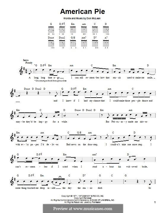 American Pie (Madonna): Für Gitarre (Sehr leichte Fassung) by Don McLean