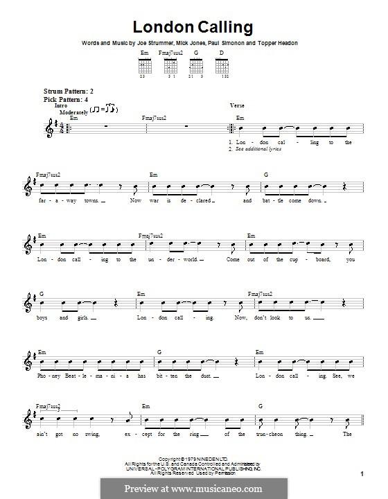 London Calling (The Clash): Für Gitarre (Sehr leichte Fassung) by Joe Strummer, Mick Jones, Paul Simonon, Topper Headon