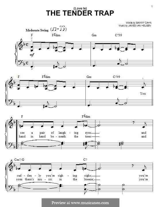 (Love Is) The Tender Trap (Frank Sinatra): Für Klavier, leicht by Jimmy Van Heusen