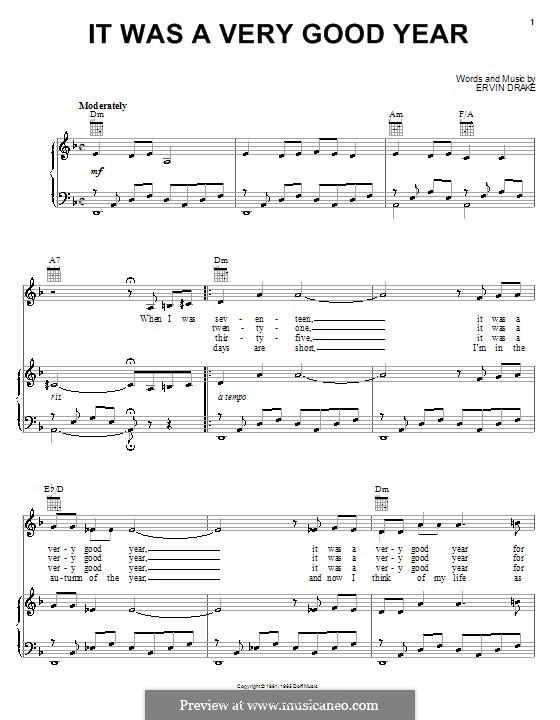 It Was a Very Good Year (Frank Sinatra): Für Stimme und Klavier (oder Gitarre) by Ervin Drake