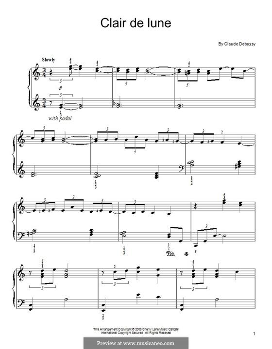 No.3 Clair de lune, for Piano: Version für leichtes Klavier (with fingering) by Claude Debussy