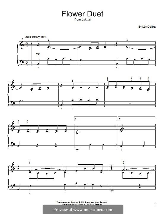 The Flower Duet: Für Klavier, leicht by Léo Delibes