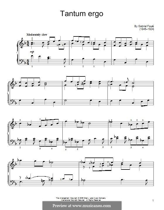 Tantum ergo, Op.65 No.2: Für Klavier by Gabriel Fauré
