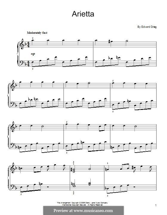 Lyrische Stücke, Op.12: Nr.1 Ariette (F-Dur) by Edvard Grieg