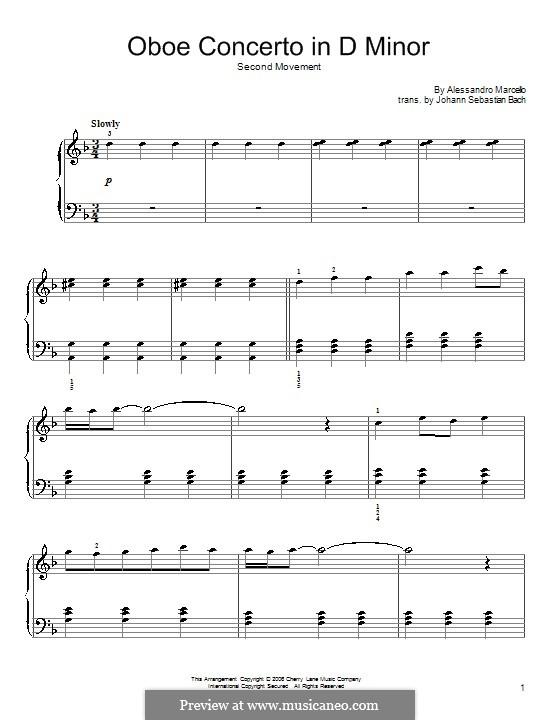 Konzert für Tasteninstrument in d-Moll, BWV 974: Adagio. Version für Klavier by Johann Sebastian Bach