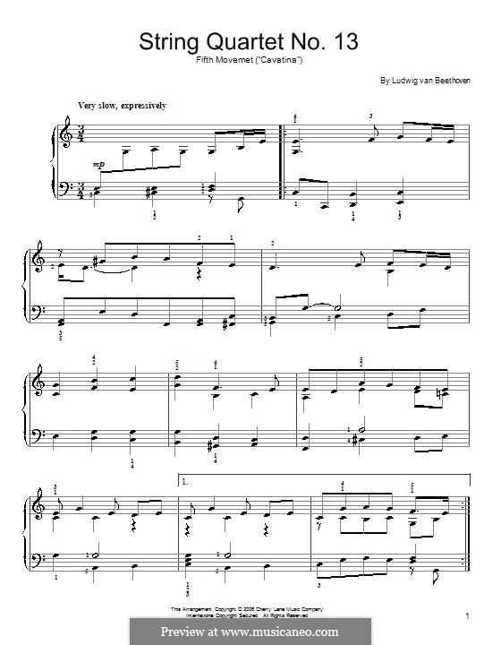 Streichquartett Nr.13 in B-Dur, Op.130: Kavatine. Klavierversion für Anfänger by Ludwig van Beethoven