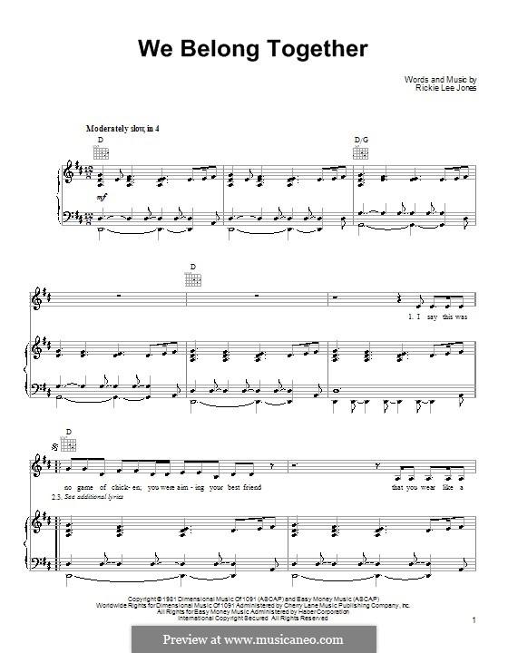 We Belong Together: Für Stimme und Klavier (oder Gitarre) by Rickie Lee Jones