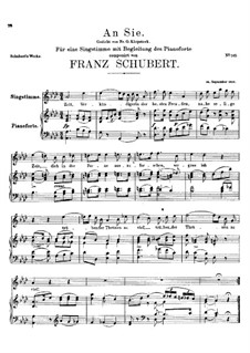 An Sie, D.288: As-Dur by Franz Schubert