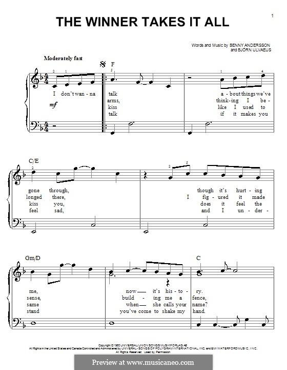 The Winner Takes it All (ABBA): Für Klavier (leicht, mit Text) by Benny Andersson, Björn Ulvaeus