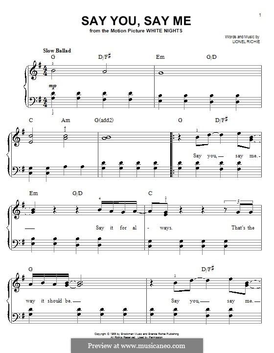 Say You, Say Me: Für Klavier, leicht by Lionel Richie