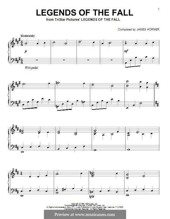 Legends of the Fall: Für Klavier by James Horner