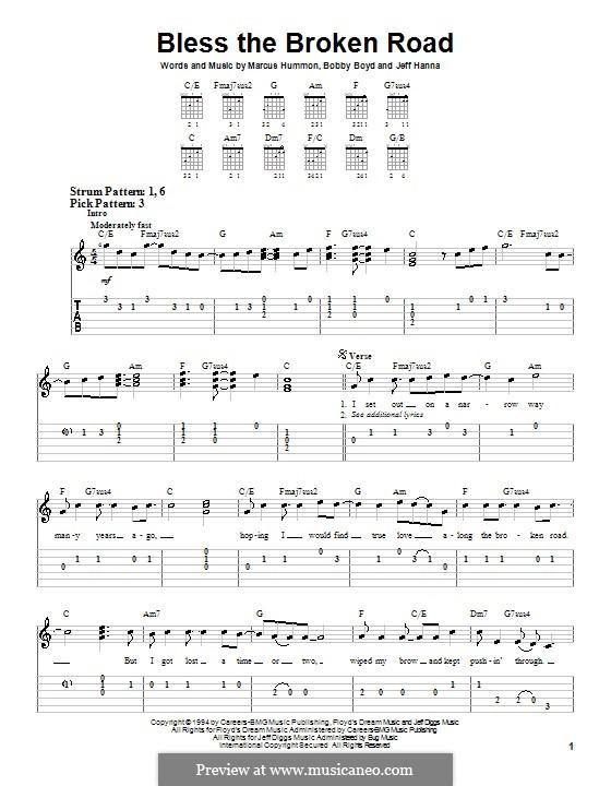 Bless the Broken Road (Rascal Flatts): Für Gitarre (Sehr leichte Fassung) by Bobby Boyd, Jeffrey Hanna, Marcus Hummon