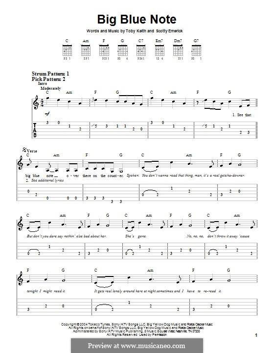 Big Blue Note: Für Gitarre (Sehr leichte Fassung) by Scott Emerick