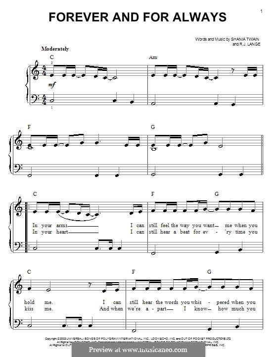 Forever and for Always: Für Klavier, leicht by Robert John Lange, Shania Twain