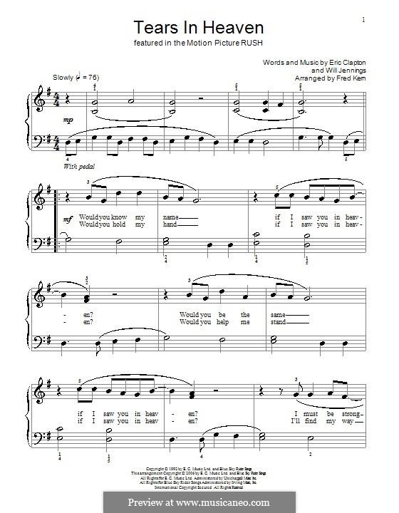 Tears in Heaven: Einfache Noten für Klavier by Eric Clapton, Will Jennings
