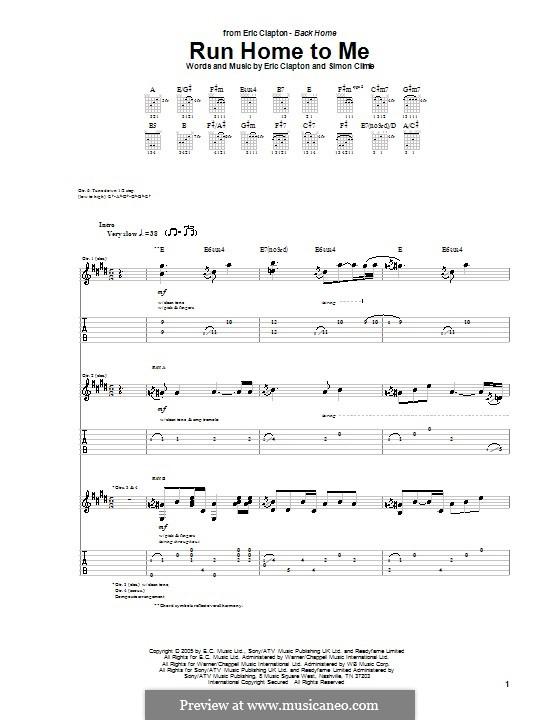 Run Home to Me: Für Gitarre mit Tabulatur by Simon Climie