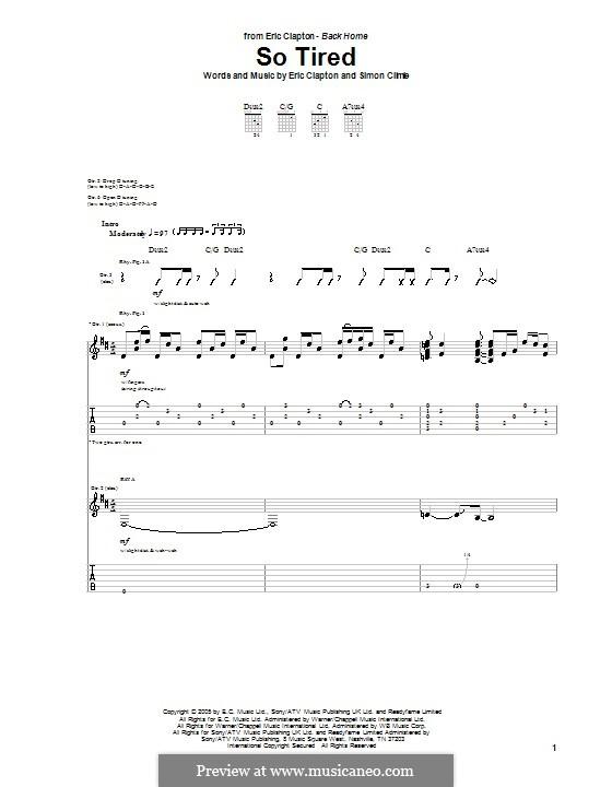 So Tired: Für Gitarre mit Tabulatur by Simon Climie