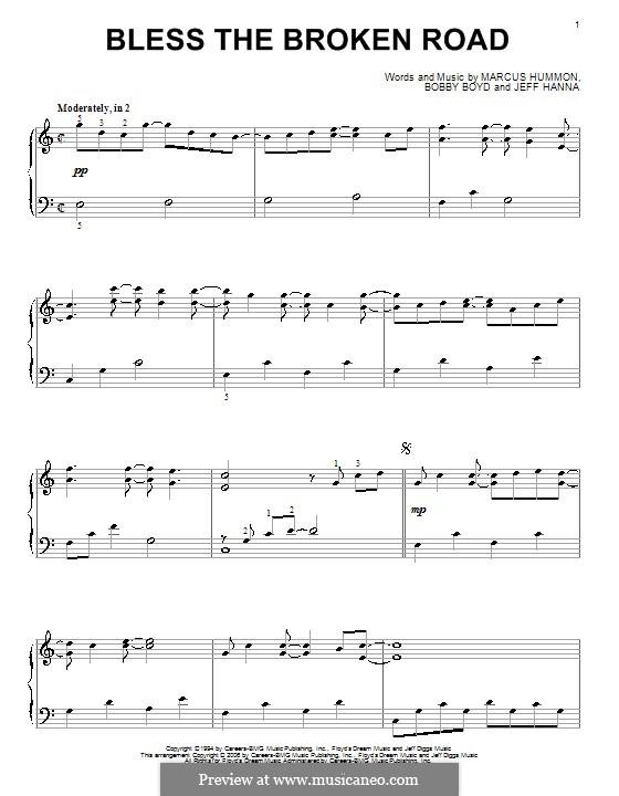 Bless the Broken Road (Rascal Flatts): Für Klavier by Bobby Boyd, Jeffrey Hanna, Marcus Hummon
