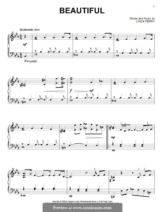 Beautifull (Christina Aguilera & Beverly McClellan): Für Klavier by Linda Perry