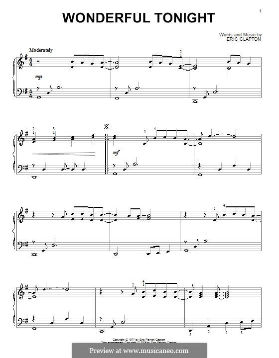 Wonderful Tonight: Für Klavier by Eric Clapton