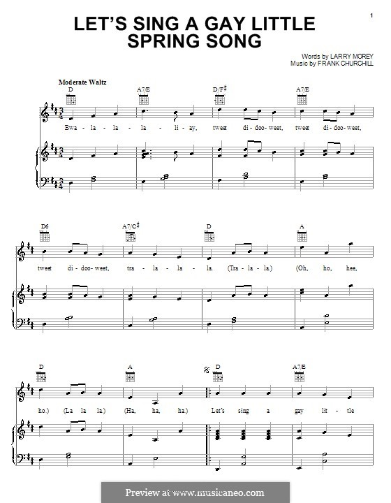 Let's Sing a Gay Little Spring Song (from Bambi II): Für Stimme und Klavier (oder Gitarre) by Frank Churchill