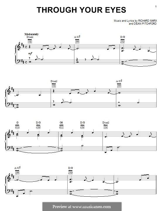 Through Your Eyes (from Bambi II): Für Stimme und Klavier (oder Gitarre) by Richard Marx
