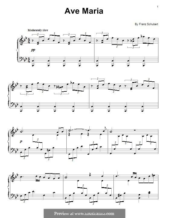 Ave Maria (Printable Scores), D.839 Op.52 No.6: Für Klavier by Franz Schubert