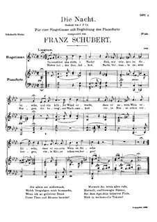 Die Nacht, D.358: As-Dur by Franz Schubert