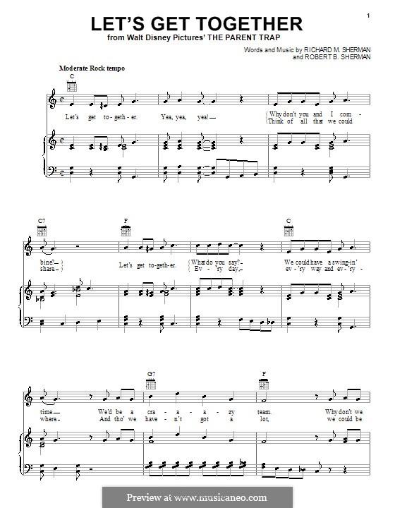 Let's Get Together: Für Stimme und Klavier (oder Gitarre) by Richard M. Sherman, Robert B. Sherman