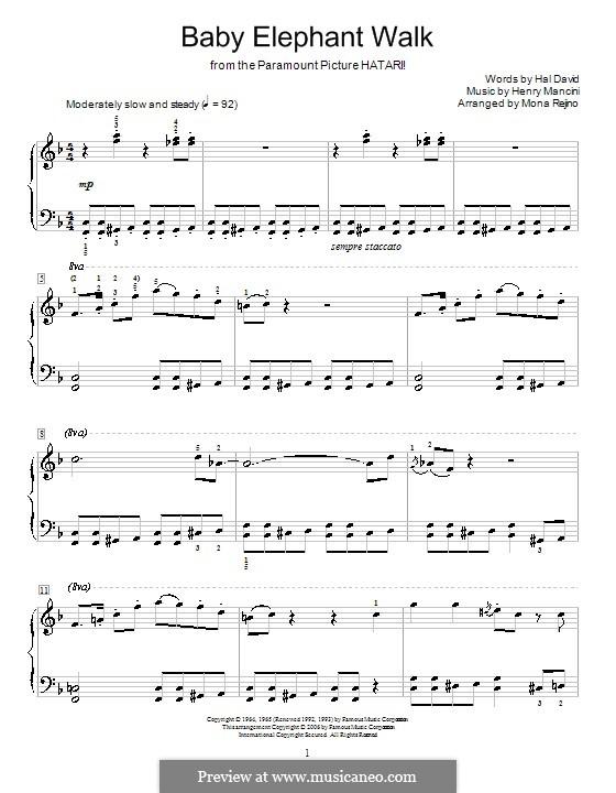 Baby Elephant Walk: Für Klavier by Henry Mancini