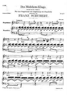 Des Mädchens Klage, D.389: For voice and piano (c minor) by Franz Schubert