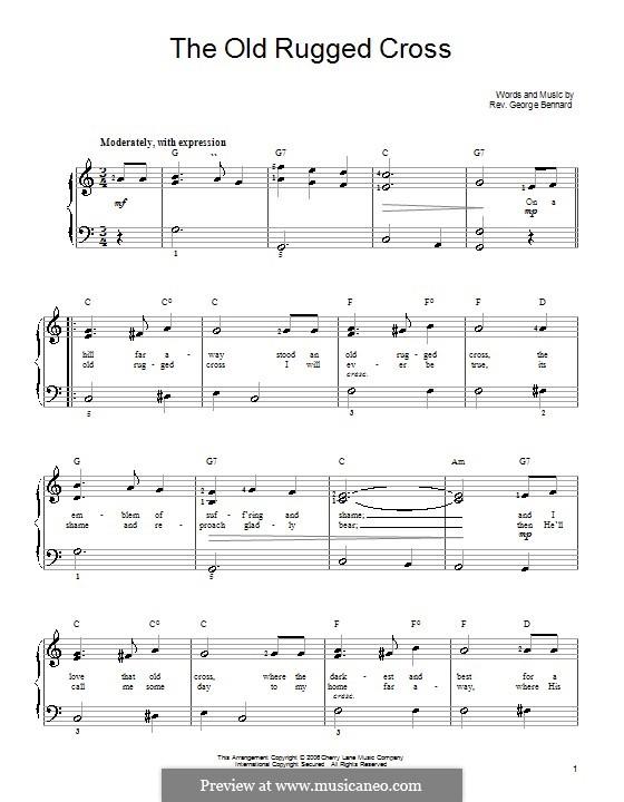The Old Rugged Cross: Für Klavier, leicht by George Bennard