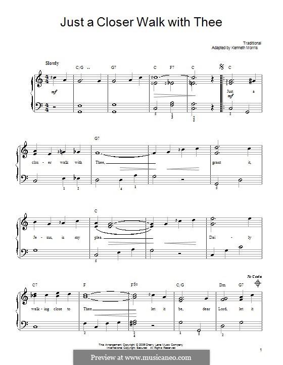 Just a closer walk with thee: Für Klavier (leicht, mit Akkordenbezeichnung) by folklore