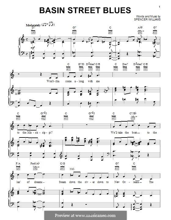 Basin Street Blues (Louis Armstrong): Für Stimme und Klavier (oder Gitarre) by Spencer Williams