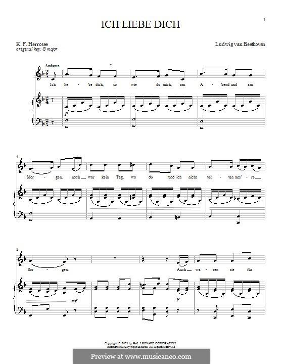 Ich liebe dich, WoO 123: Für Stimme und Klavier by Ludwig van Beethoven
