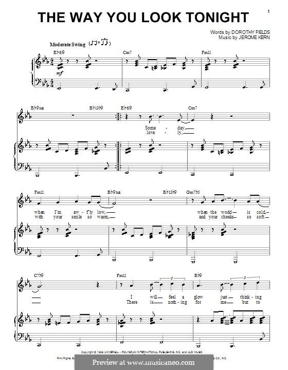 The Way You Look Tonight: Für Stimme und Klavier oder Gitarre (Frank Sinatra) by Jerome Kern