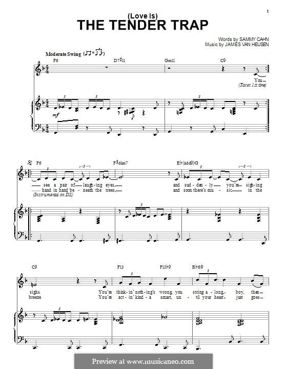 (Love Is) The Tender Trap (Frank Sinatra): Für Stimme und Klavier (oder Gitarre) by Jimmy Van Heusen