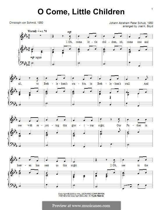 O Come, Little Children: Für Stimme und Klavier (oder Gitarre) by Johann Abraham Schulz