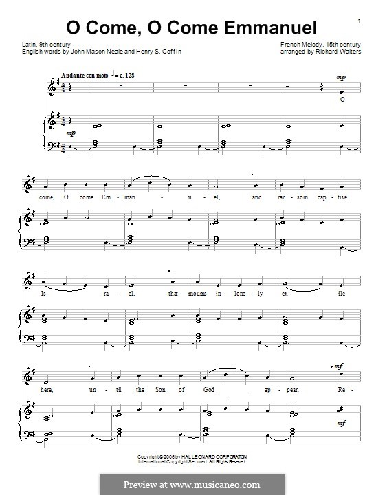O Come, O Come, Emmanuel: Für Stimme und Klavier by folklore