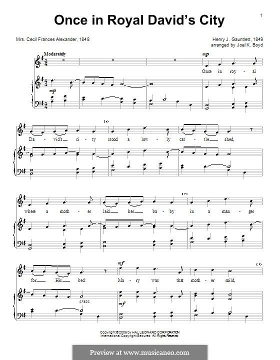 Einst in der königlichen Stadt David: Für Stimme und Klavier (oder Gitarre) by Henry John Gauntlett